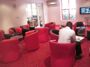 A wider view of the lounge. Sorry for the quality