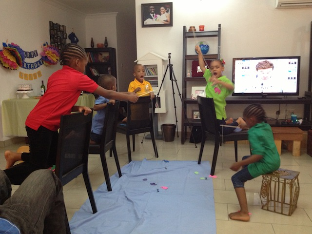 By the 3rd round, the little boy wanted his own fishing line! Unfortunately we only have 4 dining chairs so we had to make do