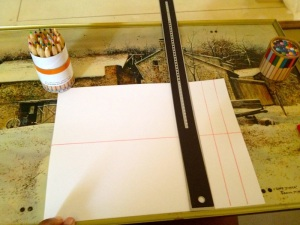 Draw some lines on your paper to serve as cut lines.