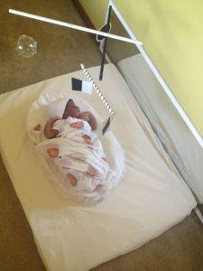 The movement area for a newborn