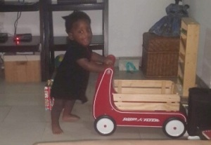 After figuring out how to turn his wagon and return to parking spot