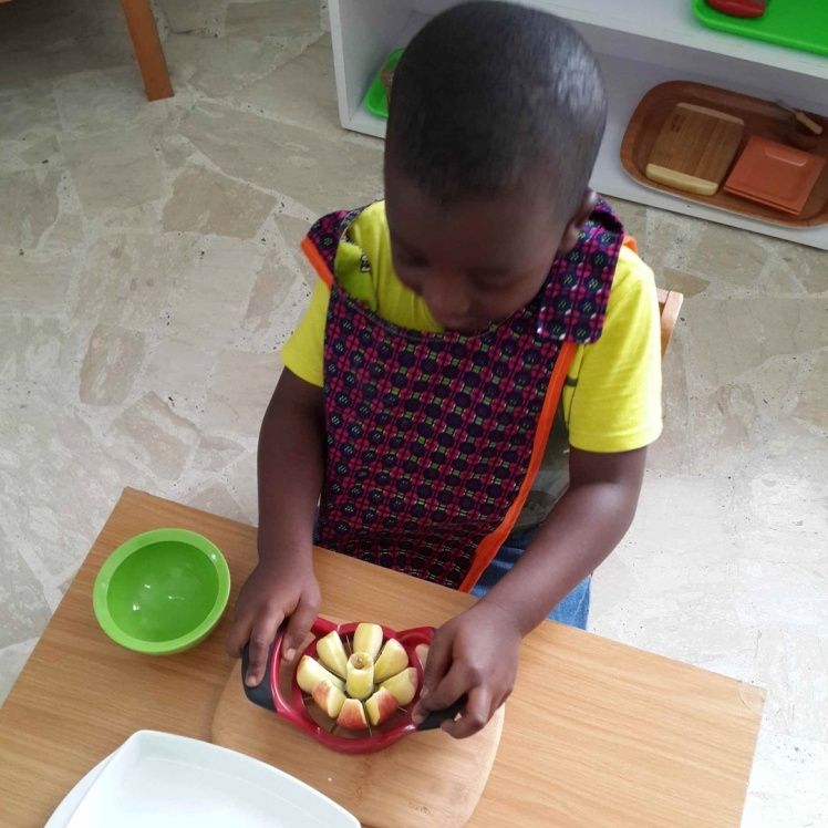 Preparing an apple snack