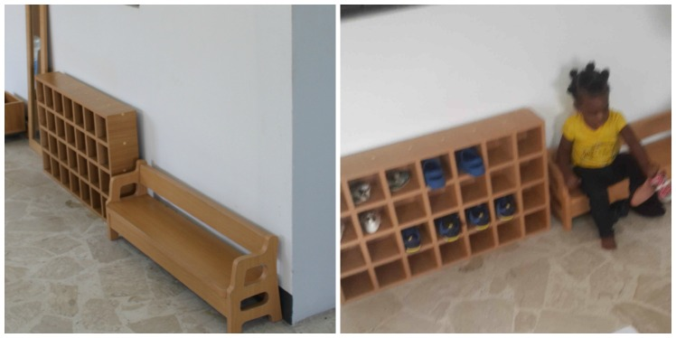 Little bench and shoe shelf allows this 19 month old take off and store her shoes independently