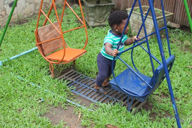 None of the swings or play structures were for infants. My son was 10 months ay the time. I thought this one might be but it is stationary
