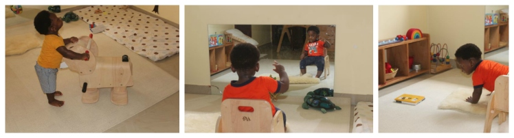We had the rug and he did most of his work on the floor. He had this little chair that he could push to wherever he wanted and frequently sat in front of the mirror with