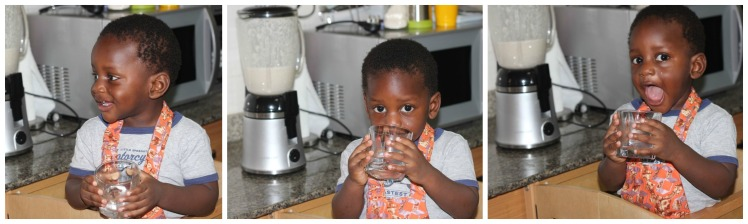 There are no pictures of the milk being blended because he prefers to watch while holding on the mummy. The sound of the blender is still a little scary. This was a good time for a water break though. Whenever he's done drinking, he goes
