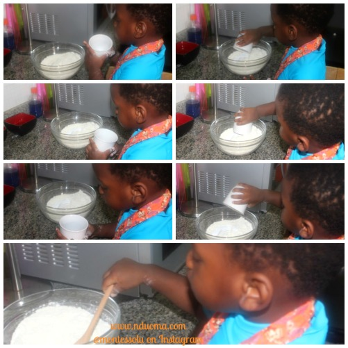 Then we added the baking powder (2 teaspoons), baking soda (1/4 teaspoon) and salt (1/2 teaspoon) Each time he would pick the cup, look into it, pour and then look into it again to make sure it was empty. Another random observation was that he picked all the containers with two hands but always poured the smaller ones with one hand. The mathematical mind, self awareness etc.