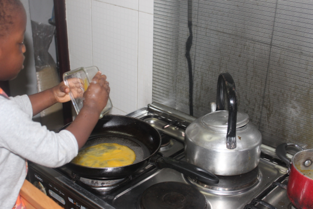 Another step that depends on your comfort level but he then pours into pan which is still cold