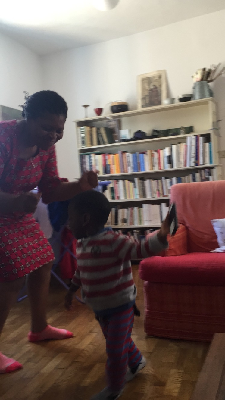 Dancing with his Nnenne. Music and dancing are so important and often don't get as much emphasis as they should. So much joy to be shared through these media plus Gross motor coordination, rhythm and language development