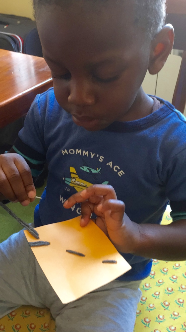 This was another favorite. I was quite surprised that he was ready for this but he loved this and focused so seriously. Fine motor, skills, concentration, eye hand coordination, practical life skills, the list goes on!